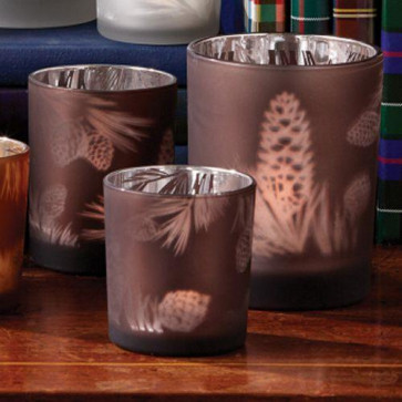 Pine Cone Tealight Candle Holders ~ Set Of 3 Glass Votive Tea Lights - Copper Brown