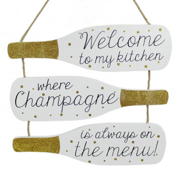 Triple Hanging White Wooden Gold Glitter Bottle Plaque Wine Sign ~ Champagne