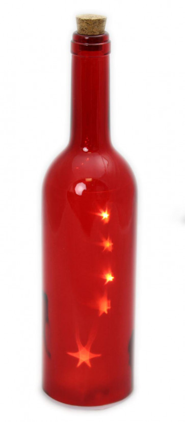 Glass Corked Wine Bottle Battery Operated Christmas LED Light Lighting Star Table Decoration ~ Red
