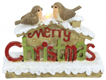Resin Glitter LED Robin House Decoration Merry Christmas Ornament