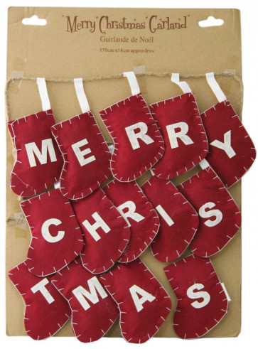 Shabby Chic Style Christmas Bunting Garland Decoration ~ Red Stocking Merry Christmas Bunting