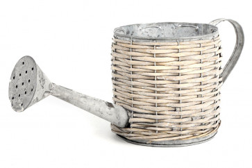 Galvanised Metal And Willow Watering Can Style Planter Bulb Flower Pot 15Cm X 15Cm