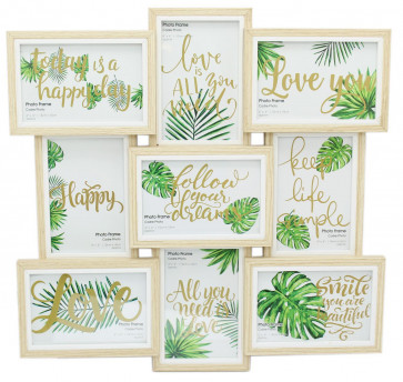 Multi 9 Aperture 3D White Wood Photo Picture Collage Frame
