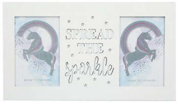White Wood Unicorn Double Photo Frame With Cut Out Words 4 X 6 ~ Sparkle