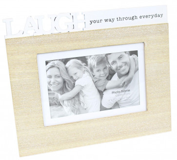 Shabby Chic Freestanding Wooden Quote Photo Frame 4 x 6 ~ Laugh