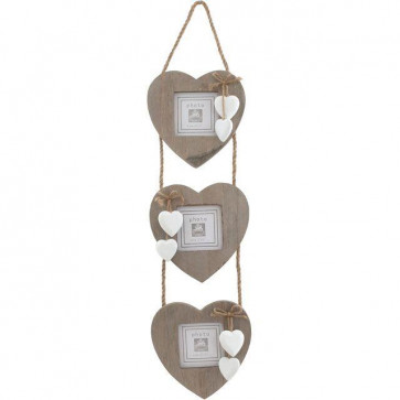 Shabby Chic Hanging Triple Heart Photo Picture Frame