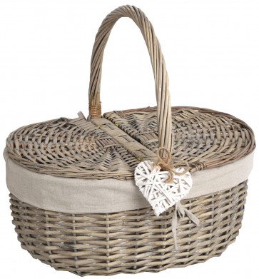 Traditional Wicker Picnic Basket Food Hamper 49Cm X 48Cm ~ Natural Wicker