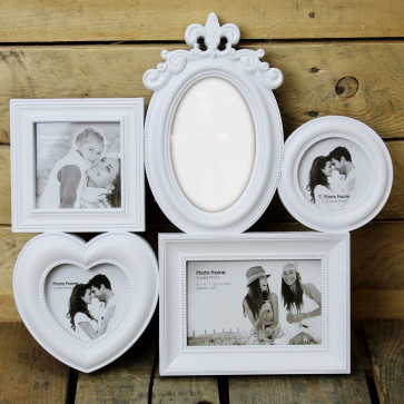 White 4 Aperture Plastic Collage Multiframe Hanging Wall Photo Frame With Mirror