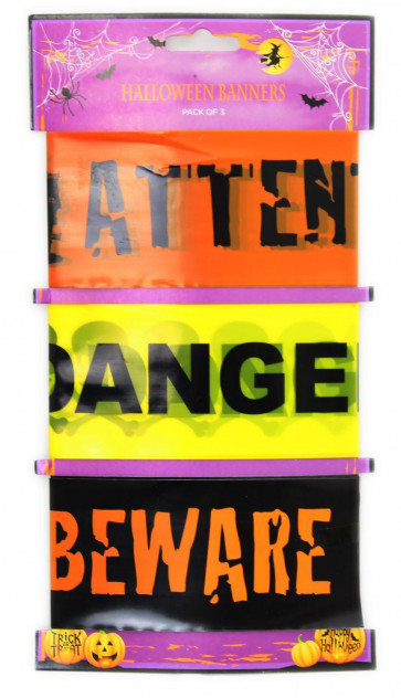 Haunted House Pack Of 3 Halloween Banners Hanging Party Garland Decoration