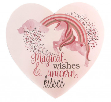 Wooden Unicorn Hanging Heart Sign - Magical Wishes and Unicorn Kisses Plaque