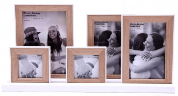 Set Of 5 Multiple Natural Wooden Picture Photo Frames On White Tray Base