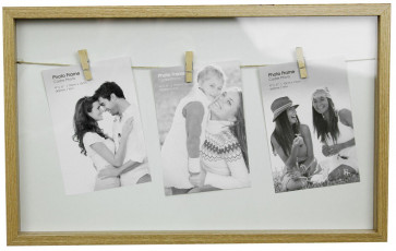 Clothes Line Style Natural Triple Peg Display Box Photo Frame - White