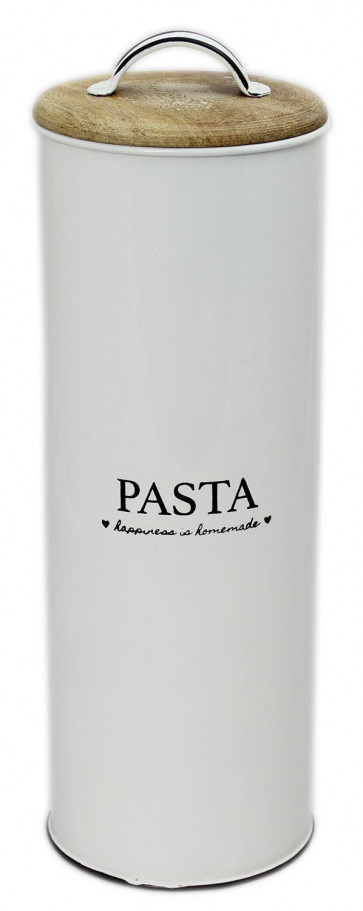 Happiness Is Homemade Enamel Pasta Tin With Lid Storage Canister Kitchen Container 28cm