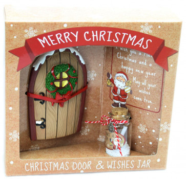 Merry Christmas Miniature Fairy Elf Door And Wishlist Wishing Jar ~ Brown