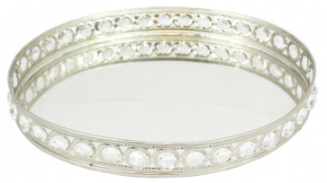 Decorative Oval Mirrored Tealight Candle Tray Plate With Diamante Gems