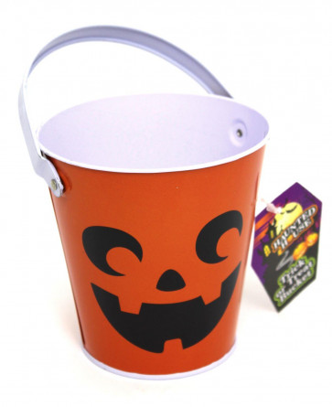 Haunted House Tin Trick Or Treat Halloween Candy Bucket - Childrens Trick Or Treating Metal Bucket With Handle - Orange Pumpkin Face