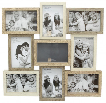 Large 9 Aperture 3D Multi Tonal Wooden Photo Picture Collage Frame