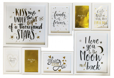 Wall Hanging 8 Multi Photo Frame Set Love Family Friend Quote ~ White