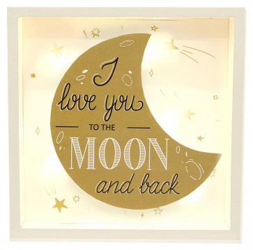 Gold Light Up Box Frame LED Sign Hanging Wall Plaque 20X3X20CM ~ I Love You To The Moon And Back