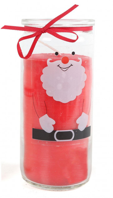 Father Christmas Scented Candle Glass Jar Tealight Holder