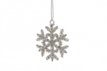 Hanging Crystal Silver Snowflake Christmas Tree Decoration