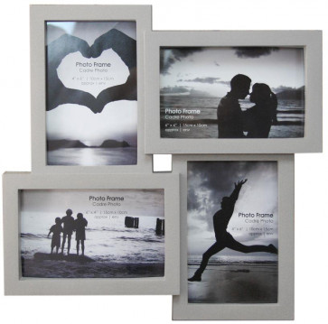 4 Multi Tonal Plastic Photo Frame - Light Grey