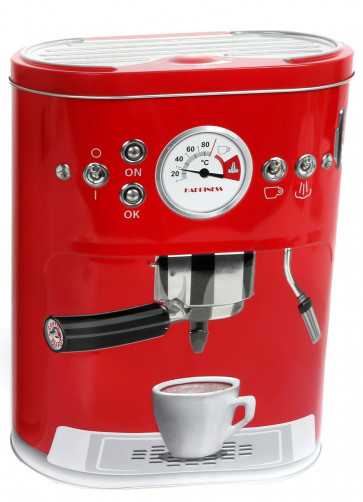 Kitchen Canister Coffee Pod Capsule Storage Tin Box 22cm x 17cm ~ Red