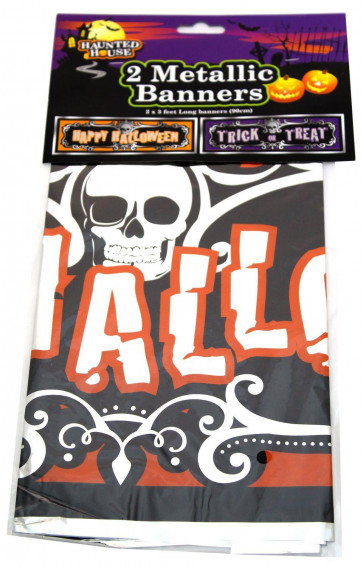 Haunted House Halloween Banner Decorations ~ Metallic Foil Decorative Halloween Banners ~ Trick Or Treat And Happy Halloween