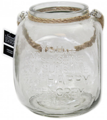 You Are My Sunshine Embossed Square Glass Tealight Candle Lantern With Rope Handle