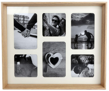 Natural Wooden Box Style 6 x Aperture Multi Photo Montage Collage Hanging Photo Frame With Mount