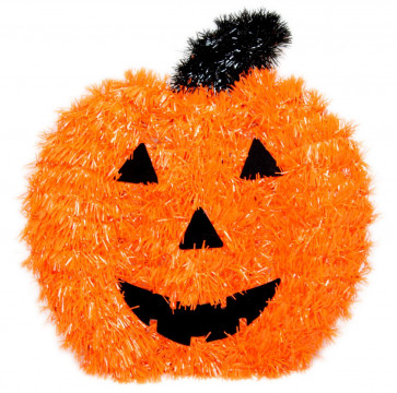 Haunted House Hanging Halloween Wall Plaque Tinsel Decoration ~ Pumpkin