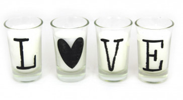 Gift Set Of Four Small White Wax Filled Glass Candles ~ Love