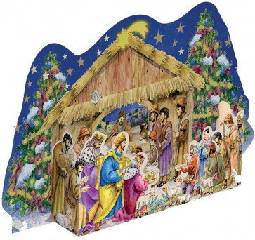 Deluxe Traditional 3D Card Advent Calendar with Envelope - 3D Nativity Scene