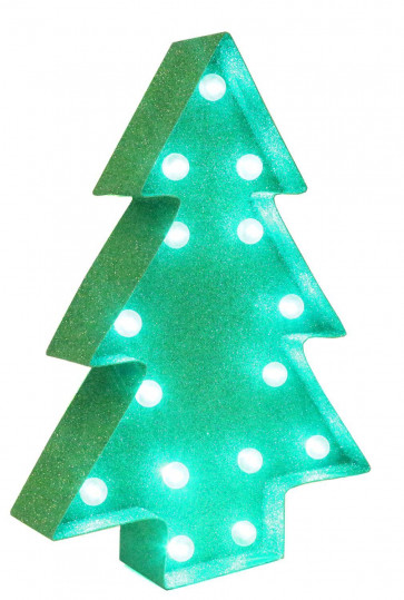 North Pole Express Delivery Green Glitter Light Up LED Christmas Tree Decoration