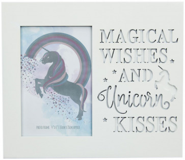 White Wood Unicorn Picture Photo Frame With Cut Out Words 4 X 6 ~ Magical Wishes