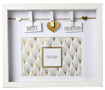 Clothes Line White Wooden Box Frame With Pegs For 6 x 4 Photo ~ Best Friends