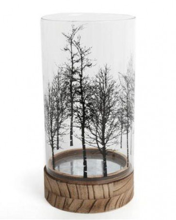 Beautiful Tree Glass Wood Candle Tealight Holder 24Cm