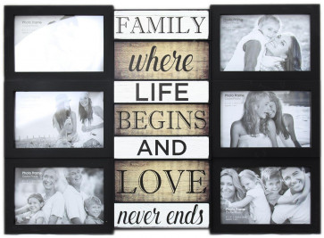 Wall Hanging Black Plastic Multiframe Collage Picture Quote Photo Frame ~ Family