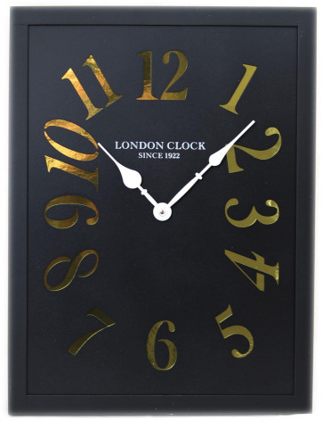 40cm x 30cm Rectangular Wooden London Wall Clock With Metallic Cut Out Numerals ~ Black