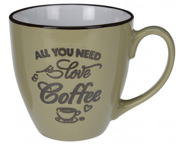 Large Ceramic Stoneware Coffee Mug - All You Need Is Love And Coffee ~ Pistachio Green