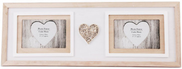 "Hanging Wooden 4"" x 6"" Double Photo Frame With Carved Heart Detail 55cm x 20cm"
