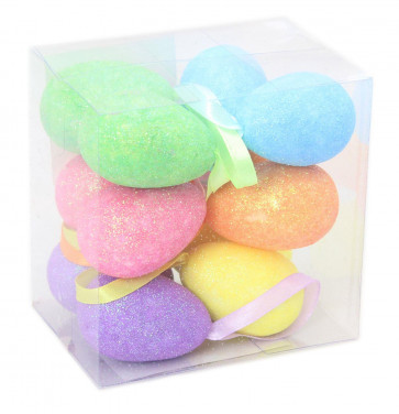 Pack Of 12 Decorative Glitter Hanging Easter Egg Decorations