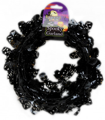 Halloween Skull Head Tinsel Garland Wreath Door Stairs Bunting Decoration ~ Black