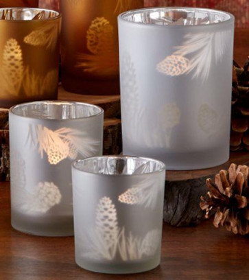 Pine Cone Tealight Candle Holders ~ Set Of 3 Glass Votive Tea Lights - Frosted Silver