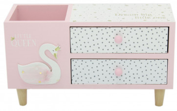 Swan White Pink Wooden 2 Drawer Cabinet Desk Tidy Jewellery Trinket Box