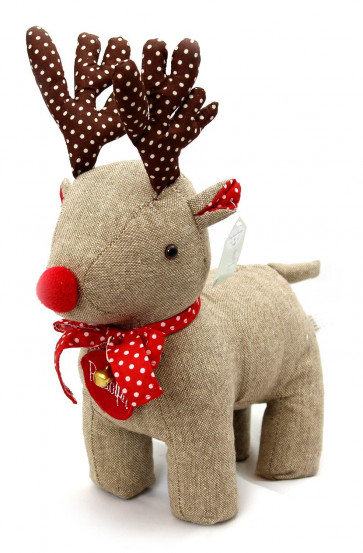 Festive Fabric Polka Dot Reindeer Doorstop Christmas Decoration ~ Rudolph