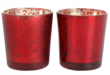 Mottled Mercury Coloured Glass Style Embossed Tealight Holder - Red Colour Candle Holder ~ Finish Varies