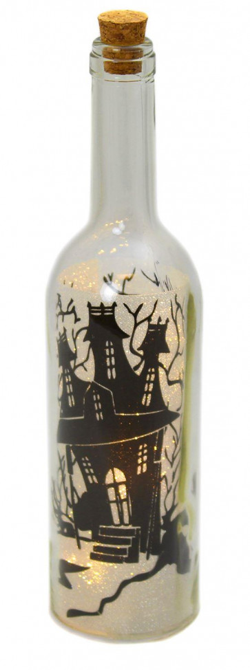 Clear Glass Corked Wine Bottle Battery Operated LED Light Lighting Silhouette Halloween Table Decoration ~ Haunted House