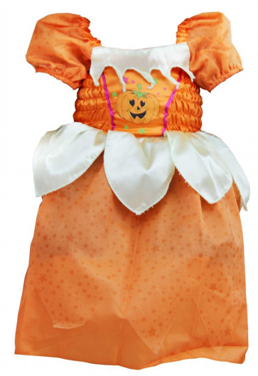 Haunted House Girls Halloween Outfit Dress Up Set ~ Orange Pumpkin Witchs Dress - 7-9 Years