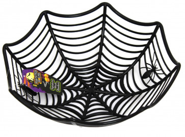 Plastic Spider Web Cobweb Bowl Halloween Table Party Decoration ~ Black